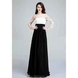 Formal Evening Dress Ivory Ball Gown Jewel Floor Length Chiffon