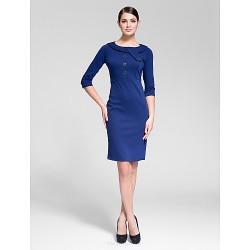 Cocktail Party Dress Royal Blue Sheath Column Jewel Knee Length Polyester