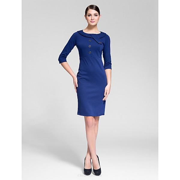 Cocktail Party Dress - Royal Blue Sheath/Column Jewel Knee-length Polyester Celebrity Dresses