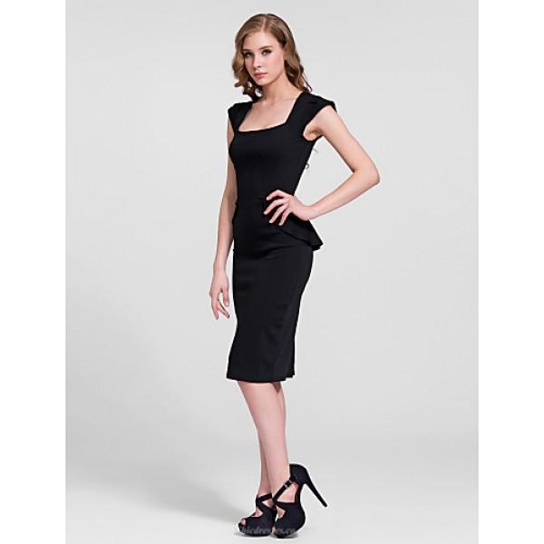 Cocktail Party Dress - Black Sheath/Column Square Knee-length Cotton Celebrity Dresses