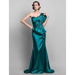 Formal Evening Military Ball Dress Jade Plus Sizes Petite Trumpet Mermaid One Shoulder Sweep Brush Train Stretch Satin
