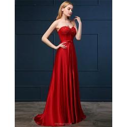 Formal Evening Dress Ruby A Line Sweetheart Sweep Brush Train Chiffon