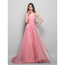 Formal Evening Prom Military Ball Dress Pearl Pink Plus Sizes Petite A Line Sweetheart Floor Length Chiffon