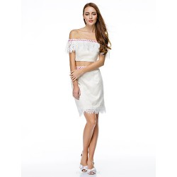 Cocktail Party Dress - Ivory Sheath/Column Off-the-shoulder Short/Mini Lace