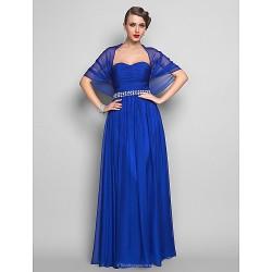 Formal Evening Military Ball Dress Royal Blue Plus Sizes Petite Sheath Column Sweetheart Floor Length Chiffon