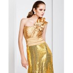 TS Couture Formal Evening Dress - Gold Plus Sizes / Petite Sheath/Column One Shoulder Sweep/Brush Train Stretch Satin / Sequined Special Occasion Dresses