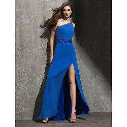 Formal Evening Dress - Ocean Blue Plus Sizes / Petite Sheath/Column Off-the-shoulder Floor-length Georgette