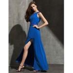 Formal Evening Dress - Ocean Blue Plus Sizes / Petite Sheath/Column Off-the-shoulder Floor-length Georgette Special Occasion Dresses