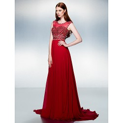 Formal Evening Dress - Burgundy Plus Sizes / Petite A-line Jewel Court Train Chiffon