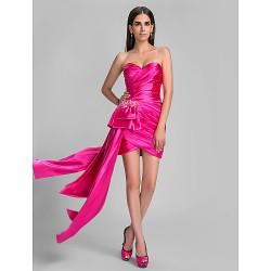 Cocktail Party Holiday Dress Fuchsia Plus Sizes Petite Sheath Column Sweetheart Asymmetrical Stretch Satin