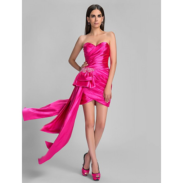 Cocktail Party / Holiday Dress - Fuchsia Plus Sizes / Petite Sheath/Column Sweetheart Asymmetrical Stretch Satin Special Occasion Dresses