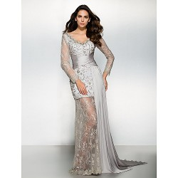 Formal Evening Dress Silver Sheath Column V Neck Watteau Train Chiffon Lace