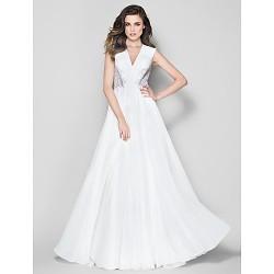 Formal Evening Dress Ivory A Line V Neck Floor Length Chiffon