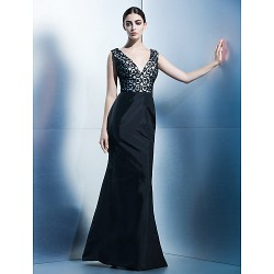 Dress Black Trumpet Mermaid V Neck Floor Length Taffeta