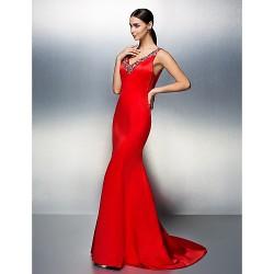 Formal Evening Dress - Ruby Plus Sizes / Petite Trumpet/Mermaid V-neck Court Train Satin