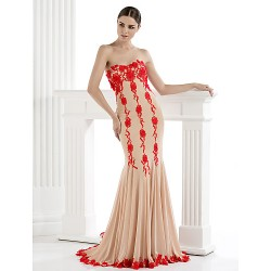 Formal Evening Dress - Trumpet/Mermaid Strapless Sweep/Brush Train Tulle