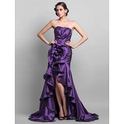 Formal Evening Prom Dress Grape Plus Sizes Petite Trumpet Mermaid Sweetheart Asymmetrical Sweep Brush Train Taffeta