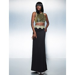 Formal Evening Dress Multi Color Plus Sizes Petite Sheath Column Jewel Floor Length Sequined Knit