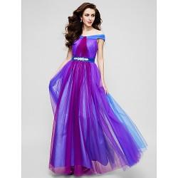 Formal Evening Dress Multi Color A Line Off The Shoulder Floor Length Tulle