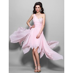 Cocktail Party / Homecoming / Prom Dress - Blushing Pink Plus Sizes / Petite A-line / Princess One Shoulder Asymmetrical / Knee-length