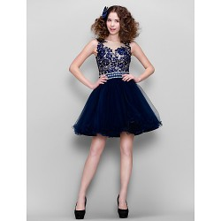 Cocktail Party Dress Dark Navy Plus Sizes Petite Ball Gown Jewel Short Mini Lace Tulle