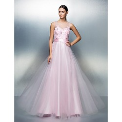 Formal Evening Dress - Candy Pink Plus Sizes / Petite A-line Jewel Floor-length Tulle