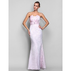 Formal Evening Military Ball Dress Blushing Pink Plus Sizes Petite Trumpet Mermaid Strapless Floor Length Lace Satin