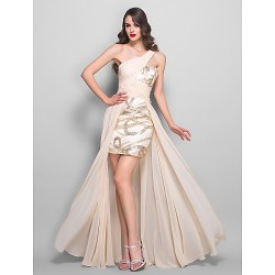 Formal Evening / Prom / Military Ball Dress - Champagne Plus Sizes / Petite A-line One Shoulder Floor-lengthChiffon / Stretch Satin /