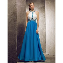 Floor-length Chiffon Bridesmaid Dress - Ocean Blue Apple / Hourglass / Inverted Triangle / Pear / Rectangle / Plus Sizes / Petite / Misses