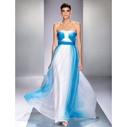 Formal Evening / Prom / Military Ball Dress - Ocean Blue Plus Sizes / Petite A-line Strapless Floor-length Chiffon