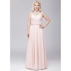Formal Evening Dress - Blushing Pink A-line Jewel Floor-length Chiffon