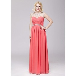 Formal Evening Dress - Watermelon A-line Scoop Floor-length Chiffon