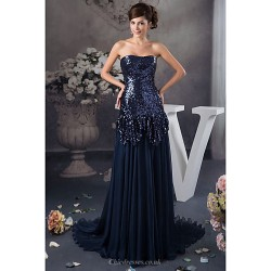 Formal Evening Dress Dark Navy Petite A Line Strapless Floor Length Satin Sequined