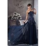 Formal Evening Dress - Dark Navy Petite A-line Strapless Floor-length Satin / Sequined Special Occasion Dresses