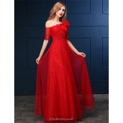 Formal Evening Dress - Ruby A-line One Shoulder Floor-length Lace / Tulle