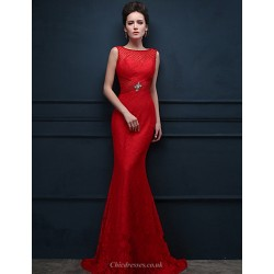 Formal Evening Dress Ruby Trumpet Mermaid Scoop Sweep Brush Train Lace
