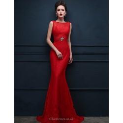 Formal Evening Dress Ruby Trumpet Mermaid Scoop Sweep Brush Train Lace
