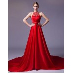 Formal Evening Dress - Ruby / Silver A-line Strapless Chapel Train Satin Special Occasion Dresses