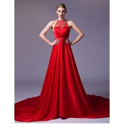 Formal Evening Dress - Ruby / Silver A-line Strapless Chapel Train Satin