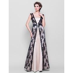 Floor Length Lace Satin Bridesmaid Dress Champagne Plus Sizes Petite Sheath Column Straps