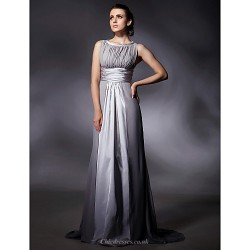 Formal Evening Military Ball Dress Silver Plus Sizes Petite Sheath Column Jewel Sweep Brush Train Chiffon Stretch Satin