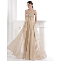 Formal Evening Dress Champagne Plus Sizes Petite A Line Sweetheart Floor Length Chiffon Spandex