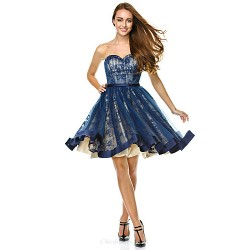 Cocktail Party Dress Dark Navy A Line Sweetheart Knee Length Tulle