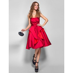 Cocktail Party Holiday Dress Burgundy Plus Sizes Petite A Line Strapless Knee Length Satin