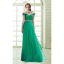 Formal Evening Dress Dark Green Sky Blue Plus Sizes Petite A Line Off The Shoulder Floor Length Chiffon