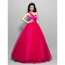 Prom / Formal Evening / Quinceanera / Sweet 16 Dress - Fuchsia Plus Sizes / Petite Princess / Ball Gown / A-line One Shoulder / Sweetheart