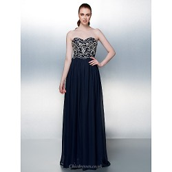 Formal Evening Dress Dark Navy Plus Sizes Petite A Line Strapless Floor Length Chiffon