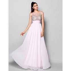Formal Evening Dress Blushing Pink Plus Sizes Petite A Line Scoop Floor Length Chiffon