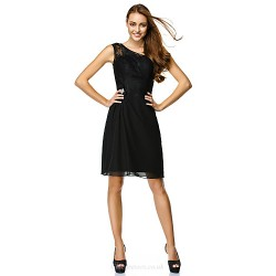Cocktail Party Dress Black Sheath Column One Shoulder Knee Length Chiffon Lace