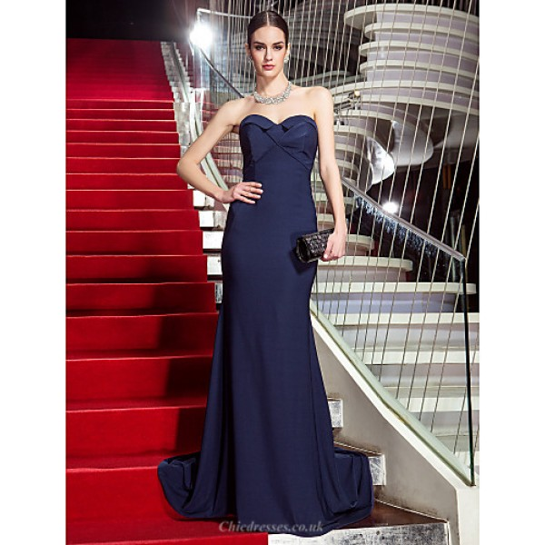 TS Couture Formal Evening / Military Ball Dress - Dark Navy Plus Sizes / Petite Trumpet/Mermaid Sweetheart Sweep/Brush Train Jersey Special Occasion Dresses